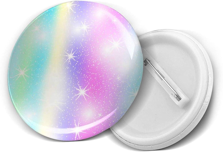 Princess Girl Unicorn Holographic Galaxy Star Rainbow Sky Round Brooch Badge Pins For Women Men Girls T Shirt Bag Backpacks Hat Accessories