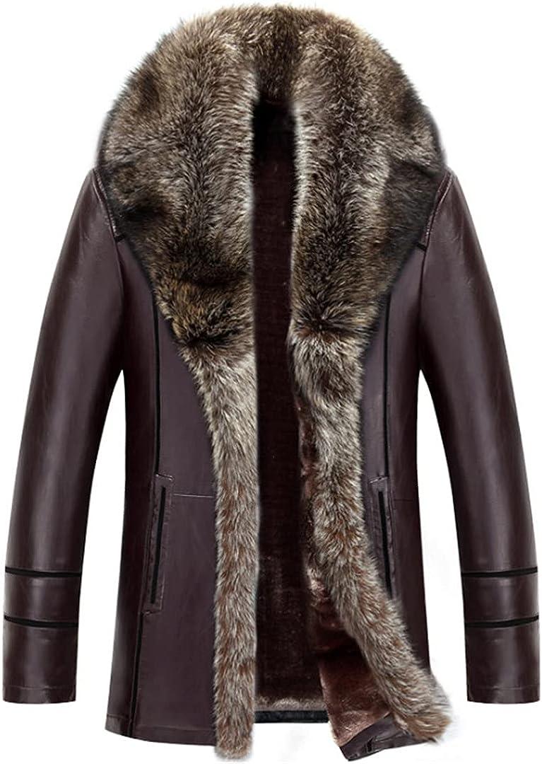 Leather Jacket Men Thicken Windbreaker Coat Fashion Flocking Faux Leather Jacket