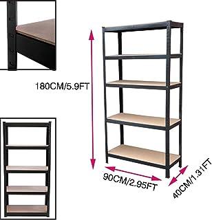 Estantería de almacenamiento para garaje de acero resistente, 5 niveles, color negro, 180 cm x 90 cm x 40 cm, gran capacidad de 875 kg, estante sin tornillos de acero y MDF, 1 unidad