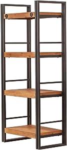 Libreria di design dallo stile industriale, realizzata in metallo e legno di acacia, finiture curate, collezione: Workshop, legno/metallo, 4 étagères