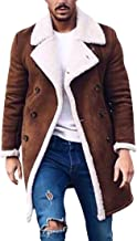 JXG Men Sherpa Coat with Faux Fur Lining Winter Warm Suede Leather Jacket