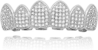 Gold Silver Pave Full CZ Grills Vampire Fangs 6 Top and Bottom Grills+ Extra 2 Molding Bars