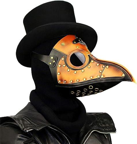 FELICIKK Leder Steampunk Full Face Pest Arzt Vogel Maske Lange Nase Schnabel Faux Cosplay Halloween Weißnachten Kostüm Requisiten (Farbe   Style1)