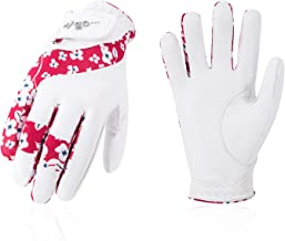 Vgo... Ladies' Soft Durable Sheep Leather Breathable Lycra Golf Gloves (Red/White, GA7984)