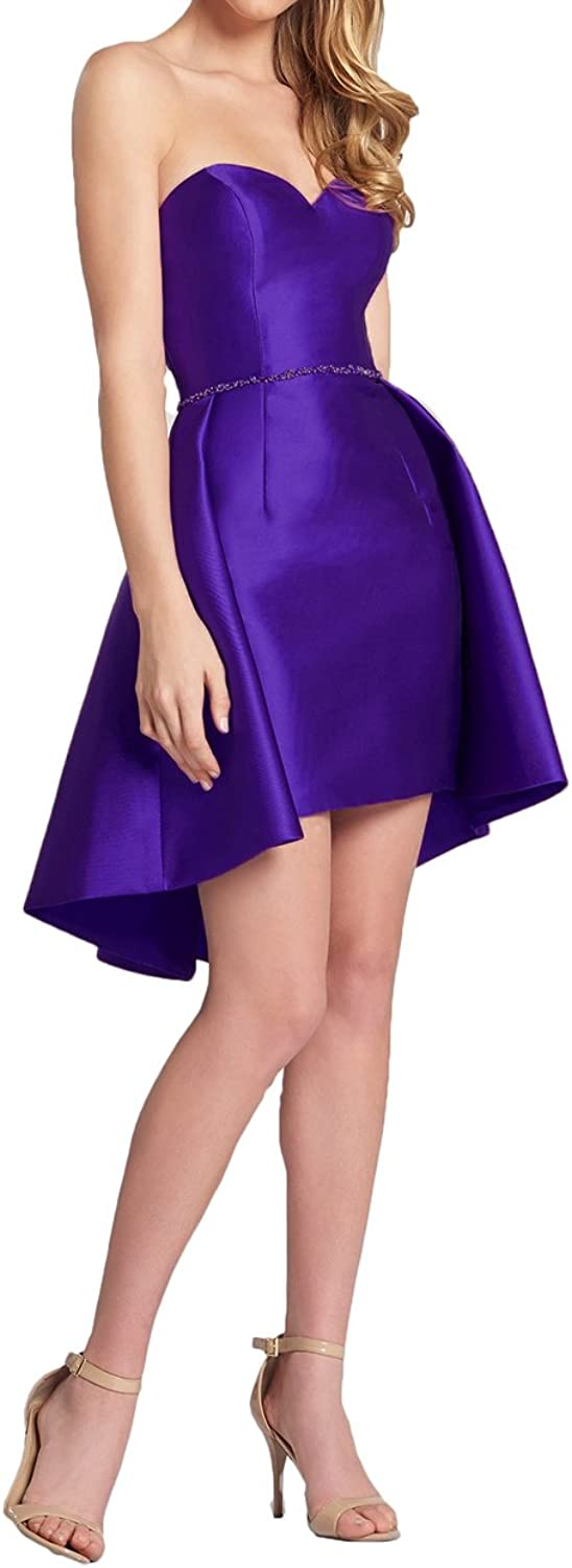Alilith.Z Sexy Sweetheart Beaded Homecoming Dresses 2018 Short High Low Prom Gowns Party Dresses for Women