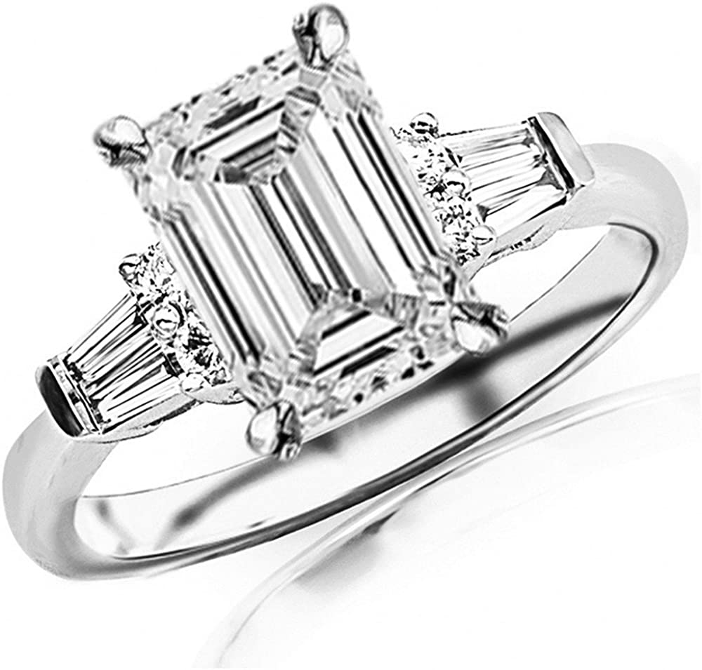1 Ctw 14k White Gold Prong Set Round And Baguette Diamond Engagement Ring 0 61 Ct F Color If Clarity Emerald Cut Center Amazon Com