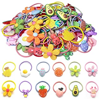 Hair Ties For Girls, 50 Pcs Cute Rubber Bands Soft Elastic Ponytail Holders Cartoon Accessories For Baby Girls Toddlers Ki...