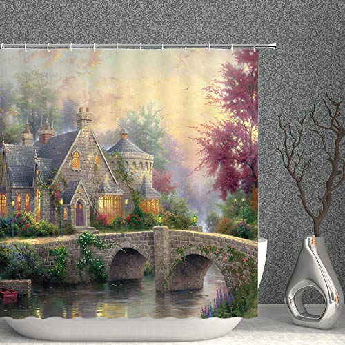 Stone Castle Decor Shower Curtain Fantasy Foggy Forest Bridge River Trees Colorful Spring Flowers Lamplight Nature Scenic Fabric Bathroom Curtains,70x70 Inch Waterproof Polyester with Hooks
