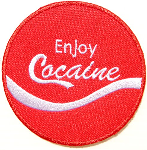 Funny Enjoy Cocaine Coke Logo Jacket T shirt Patch Sew Iron on Embroidered Badge Sign Costume