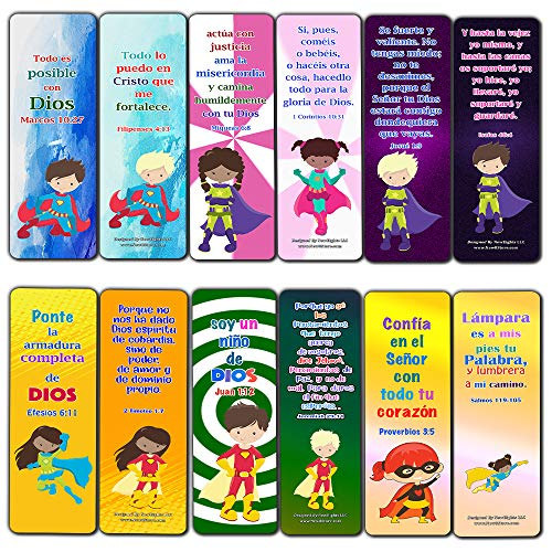 Spanish Religious Bookmarks for Kids - Super Hero (12 Pack) - Collection of Bible Verses for Kids