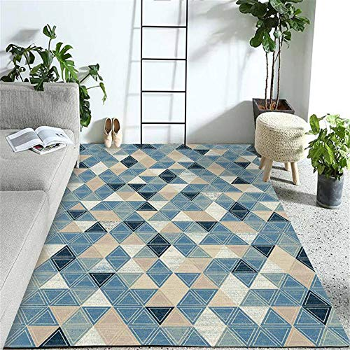 Kunsen hogar Alfombra despacho Alfombra de salón Azul Moderna Rectangular Suave, Resistente al Desgaste y no destiñe Antideslizante para alfombras 80X160CM 2ft 7.5' X5ft 3'