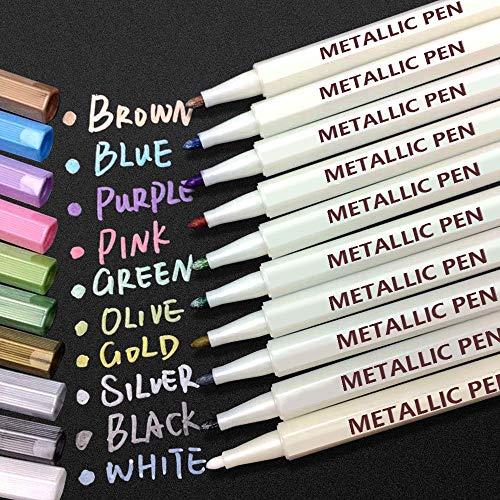 APOGO Metallic Marker Stifte, 10 Farben Metallic Stifte Metallischen Marker für DIY Fotoalbum, Gästebuch, Hochzeit, Glas, Kunststoff, Stein, Holz - Feiner Spitze (1mm)
