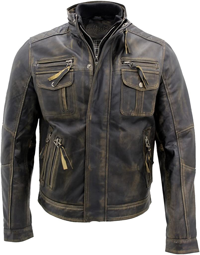 Men's Black Warm Vintage Brando Leather Biker Jacket