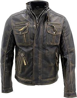 Nero caldo Brando giubbotto da motociclista in pelle da uomo