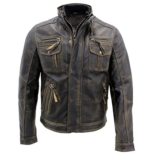 30231a65623 Infinity Men s Black Warm Vintage Brando Leather Biker Jacket