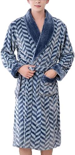 ZJEXJJ Peignoir de Velours épais Long en Flanelle de Pyjama (Couleur   Bleu, Taille   L)