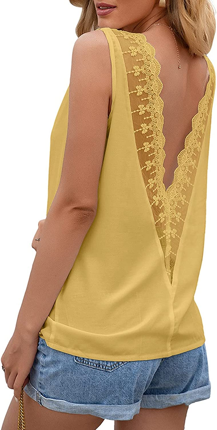 Fankle Womens Open Back Criss Cross Crew Neck Lace Tops Cut Out Casual Loose Tshirts Blouse Tunic Tee