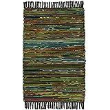 Chindi Flickenteppich, Fair Trade, handgefertigt, aus recycelter Baumwolle und Fleece, 60 x 90 cm, Grün