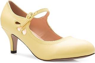 Olivia K Women's Kitten Low Heels Round Toe Mary Jane Pumps - Adorable Vintage Retro Shoes- Unique Side Cut Out Design