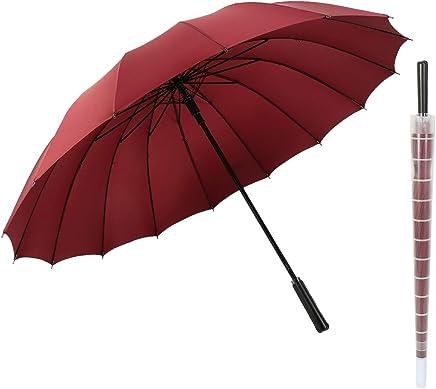 meizhouer Long Handle 16 Ribs Umbrella 16K Strong Windproof Umbrella Rain Women Fashion Rainbow Patent Design Men Color Rainbow Umbrellas Auto Open and Manual Close