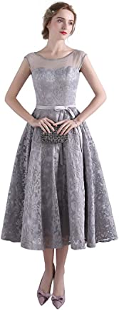 d05f0f9ff80f Mypuffgirl Women's Illusion Cap Sleeves Lace A Line Tea Length Bridesmaid  Dress Low Back