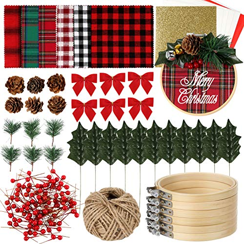 Pllieay 6 Pack of Christmas Ornament DIY Craft Kit Includes Christmas Plaid Fabric, Bamboo Hoop, Mini Pinecones, Artificial Pine Needle and Artificial Small Berrie for Christmas Decorations