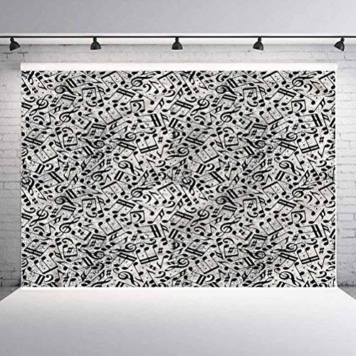 6x6FT Vinyl Photography Backdrop,Music,Monochrome Notes and Sheet Background for Selfie Birthday Party Pictures Photo Booth Shoot