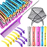 72 Pieces Hair Perm Rods Set, 60 Pieces 5 Sizes Hair Rollers Short Cold Wave Rods Perming Curlers with Triangle Hair Net Partition Hairpin Parting Comb for Hairdressing Styling