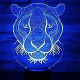 AOXULIU Luz de noche 3D Led Night Lights Lion Pattern Luz De 7 Colores Para La Decoración Del Hogar Lámpara Ilusión Óptica Base Negra