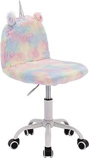 Wahson krzesło do nauki dla dzieci kolorowe sztuczne futro miękkie puszyste obrotowe krzesło regulowane wysokość krzesło k...