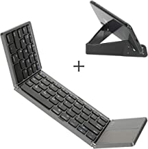 Foldable Keyboard with Touch Pad, IKOS Tri- Folding Portable Keyboard for iPhone iPad Samsung Smartphone Tablet, Wireless BT Keyboard, Designed Compatible for iOS Android Windows System Device (Black)