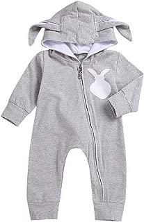Baby Boy Girl Long Sleeve Rabbit Ear Zipper Hoodie One Piece Romper Playsuit Autumn Winter Outfits