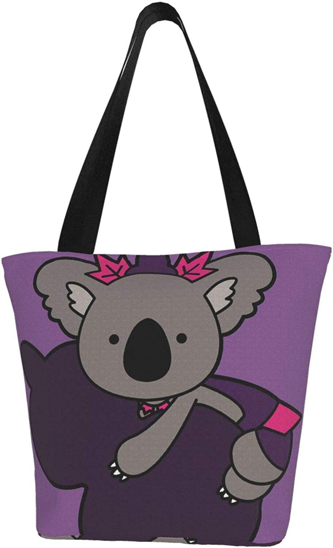 Purple Gourd Koala Cute Cartoon Themed Printed Women Canvas Handbag Zipper Shoulder Bag Work Booksbag Tote Purse Leisure Hobo Bag For Shopping