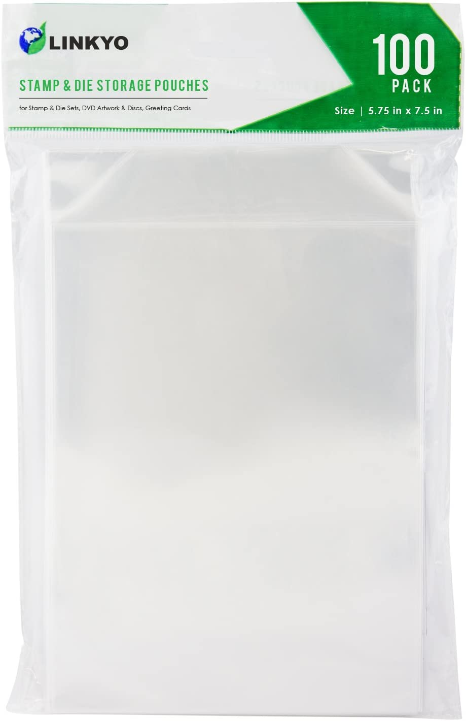 LINKYO Stamp and Die Storage Pockets, Set of 100, 5.75 inches by 7.5 inches
