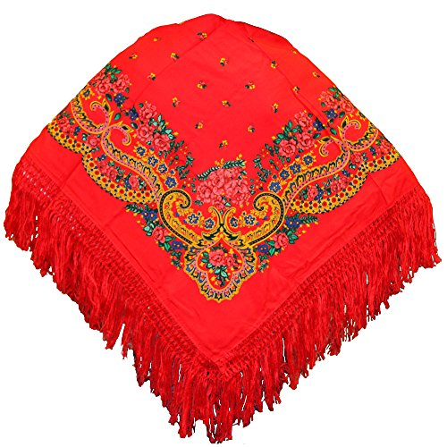 Portuguese Folklore Regional Head Half Scarf Shawl With Fringe (Red)