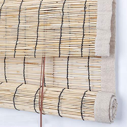 LYBC Naturel Store en Bambou,Personnalisation Rideau de Roseau,Pare-Vue Occultant,Isolation/Respirant,pour Jardin Cuisine Fenêtres Stores Enrouleur