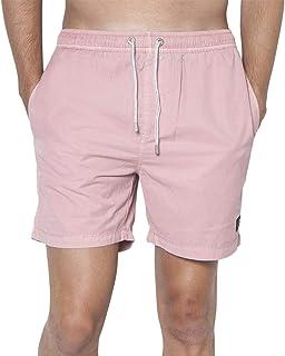 YYG Mens Flat-Front Casual Elastic Waist Straight Leg Printed Beach Shorts Boardshort Swim Trunk