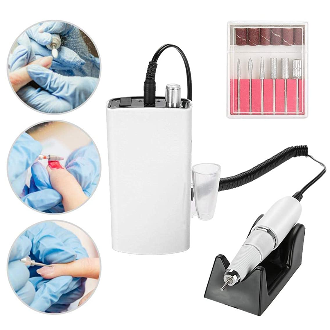 Electric Nail Drill Machine Rechargeable Nail File Driller Manicure Pedicure Polishing Nail Care Tool For Acrylic, Gel Nails, Home Salon Use (White)