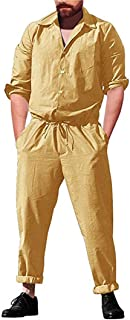 lisenraIn Men's Long Sleeve Rompers One Piece Jumpsuit Plain Coverall with Pockets