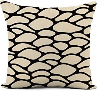 rouihot Linen Throw Pillow Cover Modern Grid Abstract Spotty Contrast Unusual for Variety Home Decor Pillowcase 20x20 Inch Cushion Cover for Sofa Couch Bed and Car