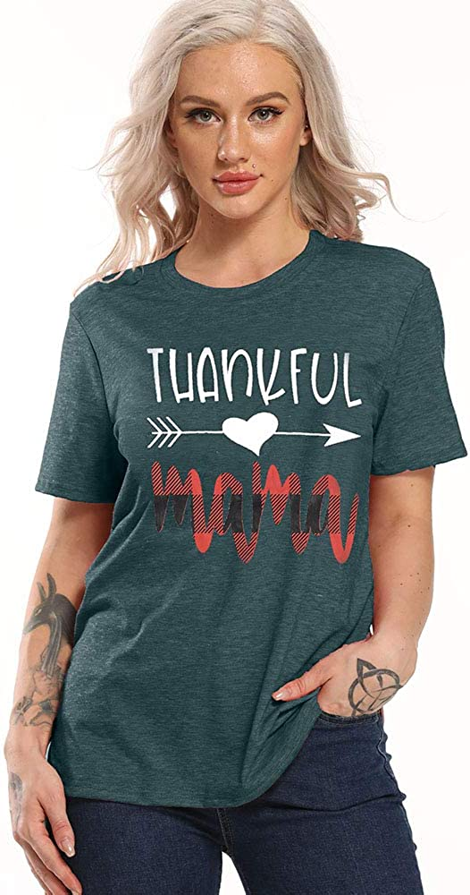 Mama Shirts Women Thankful Mama Letter Printed Tshirts Short Sleeve Tee Tops