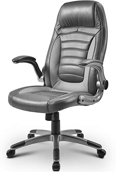 High Black Executive Office Chair PU Leather Computer Desk Chair Gaming Chair With Flip Arms 300lbs Weight Capacity