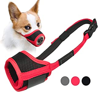 LUCKYPAW Dog Muzzle Anti Biting Barking and Chewing, with Comfortable Mesh Soft Fabric and Adjustable Strap, Suitable for ...
