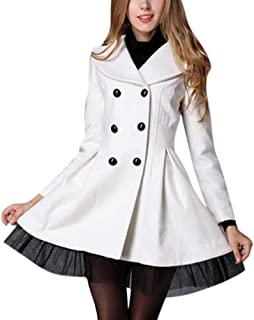 Englishop Froomer Women Lady Slim Wool Double Breasted Trench Coats Dress Jacket