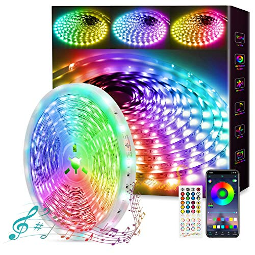 Fortand LED Strip 15m, 1x15m Dimmbar LED Streifen Bluetooth LED Lichterkette RGB 5050, Selbstklebend Lichtband mit Fernbedienung APP Steuerung Musik Sync Farbwechsel LED Leiste für Zuhause Schrankdek