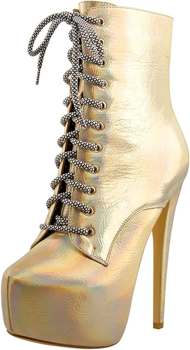 LISHAN Women's Platform Lace Up Holographic Mid-calf Boots Magic Color Stiletto Heel Ankle Boots