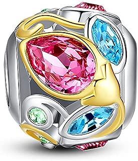 Glamulet Bud Openwork 925 Sterling Silver Charms Pendant Beads Waterdrop Gemstone Fits Bracelet