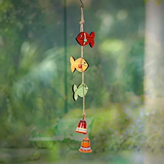 Aakriti Art Creations Wood & Metal Hand-Painted Home Decor Multicolor Fish Theme Wind Chime