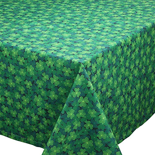 St Patrick's Day Tablecloth, St Patrick's Day Spring Tablecloth Rectangle Clover Tablecover Shamrock Tablecloth 55 x 79 Inches Green Leaves Table Runner for St Patrick's Day