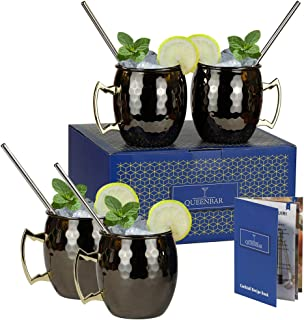 Moscow Mule Mug Hammered Stainless Steel Cup Plated Black Silver Handle 18oz for Cocktail Bar Drink